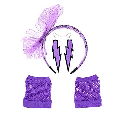 Mädchen Kostüm Workout 80er - STOBOK 80er Kostüm Set Lace Stirnband Ohrring Fischernetz Handschuhe für Party Mädchen Retro Theme Party Supplies 3 Stück (Lila)