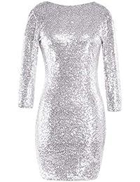 40d87b9d5b44 Bluestermall Abiti Donna con Paillettes Eleganti Sexy Mini Dress