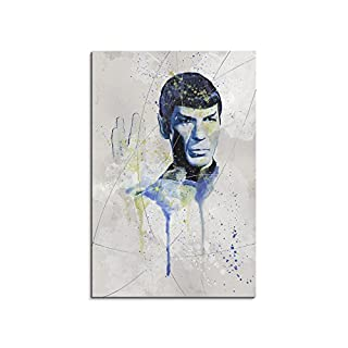 Paul Sinus Art Star_Trek_Mr_Spock_Aqua_90x60cm Wandbild Leinwand, 90 x 50 x 3 cm, Mehrfarbig