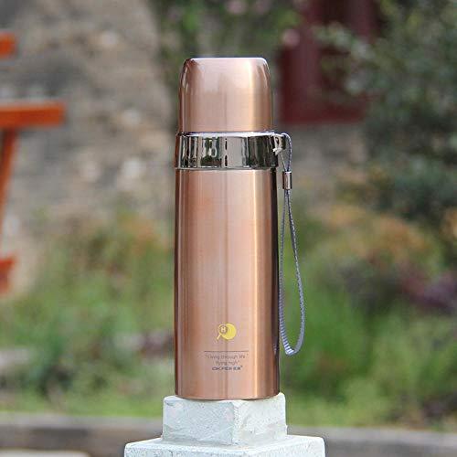 YHYZBZ Vakuum Isolierte Edelstahl Trinkflasche, BPA Frei Wasserflasche Auslaufsicher Thermosflasche,Kugel, goldene_450ml für Kinder Erwachsener,Schule Sport Outdoor Büro