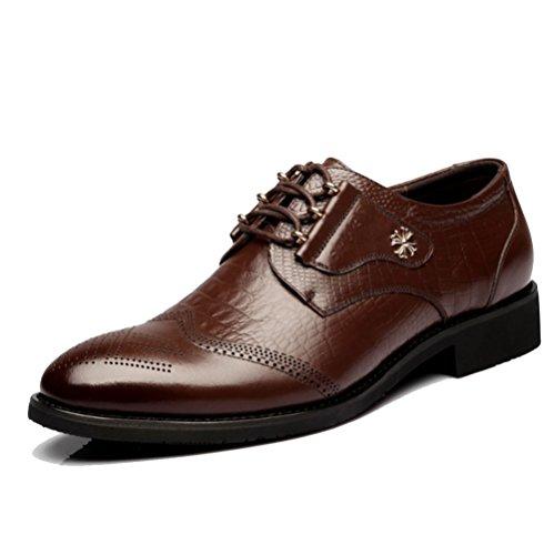 Xingf di affari degli uomini, casuale, modello coccodrillo, nero, marrone, testa rotonda, abbigliamento formale, la personalità, tendenza, scarpe da sposa degli uomini,brown-39eu
