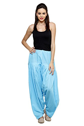 Pistaa Women Cotton Sky Blue Full Patiala Salwar Bottom Pant