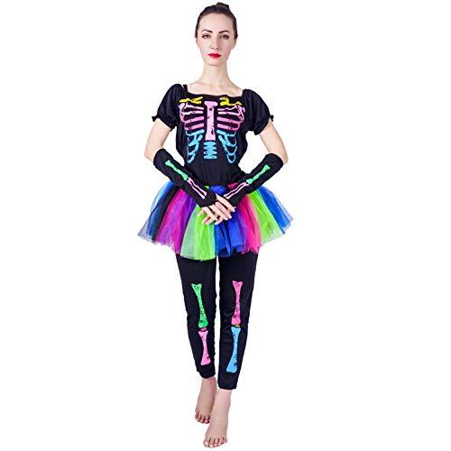 ZAOWEN Halloween Kostüm Damen Skelett Kostüm Erwachsenenrock Funky Punky Bone Skeleton Buntes Halloween (Funky Bones Kostüm)