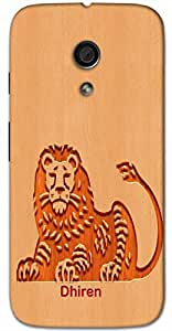 Aakrti Back cover With Lion Logo Printed For Smart Phone Model : Moto G-2 (2nd Gen) .Name Dhiren (Strong, Powerful ) Will be replaced with Your desired Name