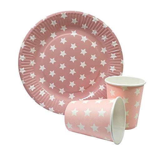 Partyset Frau Wundervoll,12 Pappbecher + 12 Pappteller - rosa, weiße Sterne / Pappteller / Pappbecher / Partybecher / Einwegteller / Einweggeschirr / Frau Wundervoll Pappteller / Frau Wundervoll Papp