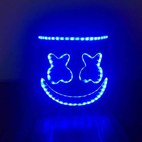 Yansy Maske Cosplay Kostüm Zubehör Helm für Halloween Party Requisiten Marshmallow DJ Kopfbedeckung Prom Requisiten LED ()