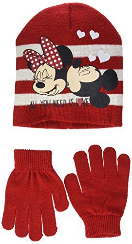 Minnie mickey mouse al you need is love, berretto in maglia bambina, rosso (red 18-1663tc), 54 cm