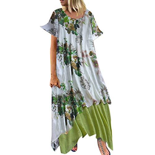 r Damen Kleid Long Dress Frauen V-Ausschnitt Blumendruck Kleid Casual Lose Plus Size Kleider Tshirt Kleid Tankyops Kleid Mini Kleider Langes Shirt Beiläufiges Strandkleid M-5XL ()