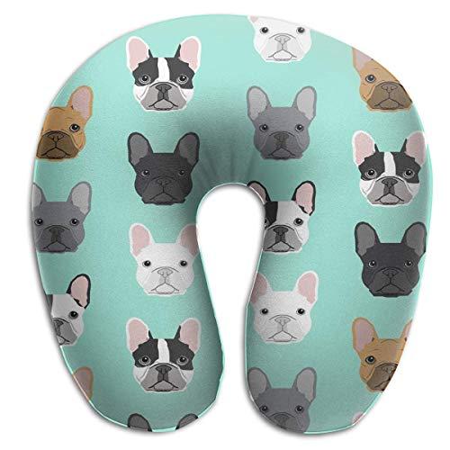 Ideal Gift French Bulldog Sweet Dog Puppy Puppies Dog Memory Foam Almohada de Viaje con Comfy Soft U-Shape...