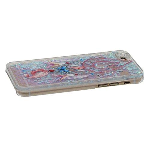 iPhone 6S Coque Dur, Flowable Transparent Liquide / Coeurs Conception Plumage Style Motif Clair Housse de protection Case pour Apple iPhone 6 / 6S 4.7 inch Anti choc avec 1 stylet color-g