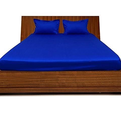 600tc Finition élégante 3pièces 100% Coton égyptien drap housse poche solide (Taille: 48,3cm), Coton, Royal Blue Solid, UK_Double