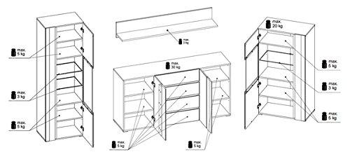 Wohnwand Wohnzimmer Set 4-teilig 220916 hidalgo / weiß Hochglanz - 6