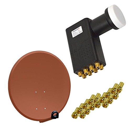 PremiumX 80cm Antenne Alu SAT Schüssel Spiegel in Ziegelrot FullHD HDTV 4K mit LNB Octo zum Direktanschluss von 8 Teilnehmer inkl. 16x F-Stecker Ge-hdtv-antenne