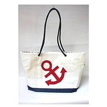 große Segeltuchtasche Beachtasche mit rotem Anker