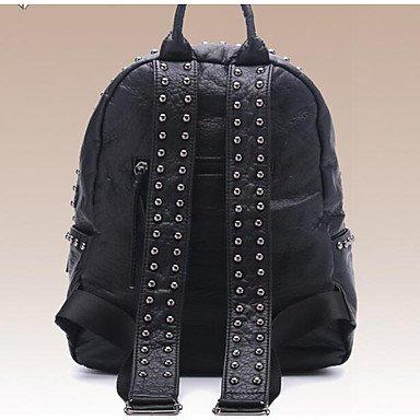 Frauen Rucksack PVC All Seasons Casual Runde Reißverschluss Schwarz 10-20 Black