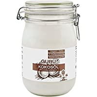 Guru Kokosöl 1000ml nativ & naturrein (1000ml Bügel-Glas) -Bio Qualität- 1. Kaltpressung - Rohkost - Vegan - Bio-Kokosfett