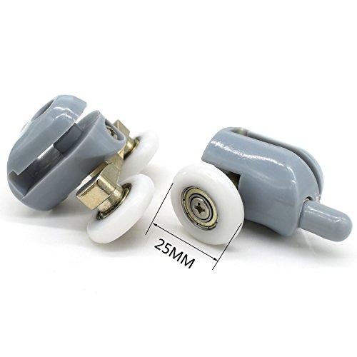 Durchmesser-leitung (YuanQian Duschtür-Rollen, Set mit 8 Duschtüren, Laufrollen, Rollen, Umlenkrollen, Leitungen, 25 mm Durchmesser, Heim-Badezimmer-Ersatzteile (4 doppelte obere Rollen und 4 einzelne Bodenrollen))