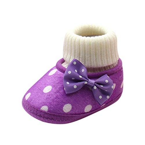 Den Heißen Herd (erthome 0-12 Monate Nettes Baby warme Bowknot heiße weiche alleinige Stiefel Kleinkind Schuhe (0-3 Monate, Lila))