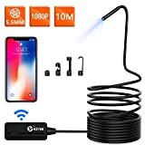 KZYEE 5,5mm Diamètre WiFi Endoscope 2,0 MP 1080P HD Wireless Snake Caméra d'Inspection 10M Câble Semi Rigide Borescope Etanche Android iOS Smartphone iPhone Samsung Tablette