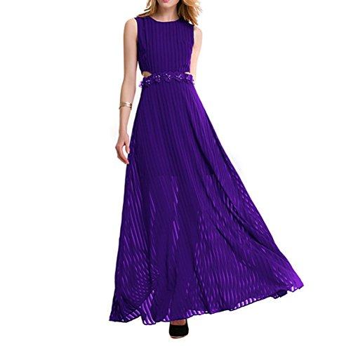 2017 Estate Girocollo Senza Maniche Sottile Sottile Pizzo Spogliatoio Messo Su Un Grande Chiffon Vestito Purple