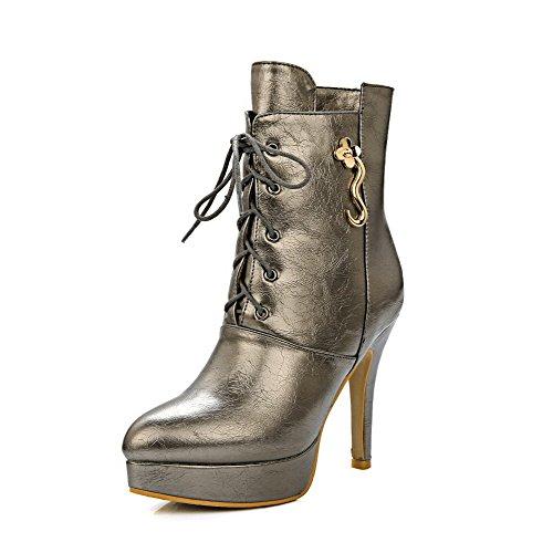 VogueZone009 Donna Scarpe A Punta Puro Tacco A Spillo Stivali con Ornamento di Metallo, Oro, 35