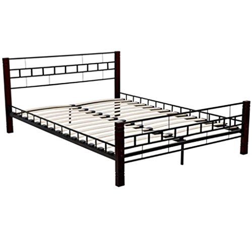 Anself Metal Bed Frame with Wooden Leg 180 x 200 cm