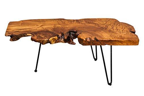 DuNord Design Couchtisch Baumstamm Wohnzimmertisch Akazie Massiv Holztisch Tisch 100cm - Modern Geformte Beistelltisch