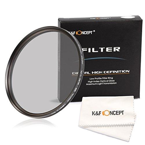 K&F Concept 62mm Slim CPL Filterset Objektiv Filter Objektiv Kamera Filter Zubehör für DSLR Kamera Sigma Tamron Sony Alpha A57 A77 A65 + Reinigungstuch für Objektive