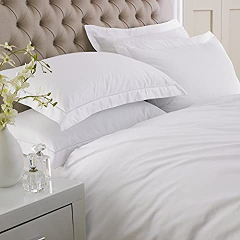 Great Knot Emperor collection 100% Egyptian sateen cotton - Duvet cover set in 400 Thread count (Double 200 x 200 cm, White)