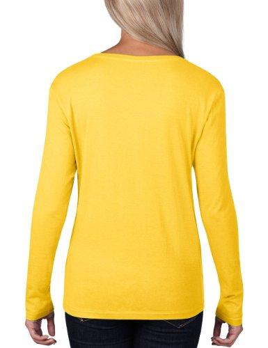 Anvil 399 - T-shirt - Uni - Col Ras Du Cou - Manches Longues - Femme Jaune (Lzt Lemon Zest 331)