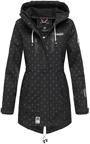 Marikoo Damen Winter Jacke Winterjacke Mantel Outdoor wasserabweisend Softshell B614 (Gr. S/Gr. 36, Schwarz Muster) (Winter Mäntel Jacken)