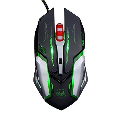 Zenoplige Gaming Maus, LESHP Ergonomische USB Wired Gaming Maus Mäuse mit 2500DPI Einstellbare High Precision 6 Button LED Optisch für Laptop PC Computer Gamer?Schwarz
