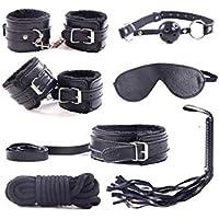 Cuero superior de la PU 7 piezas conjunto de sujeción látigo, esposas, venda, mordazas, collar, corr (Black)