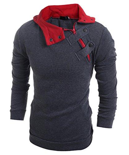 WSLCN Herren Langarmshirt Sweatshirt mit Kapuze Einfarbig Dunkelgrau