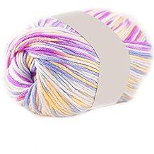 Ovillo de lana sintética para tejer a mano, 50 g, suave y cómodo Purple