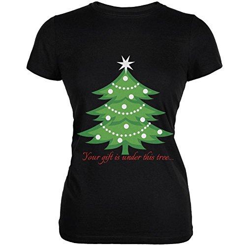 Weihnachts-Geschenk unter Baum schwarz Junioren weiches T-Shirt-X-Large (T-shirt Baum Weichen)