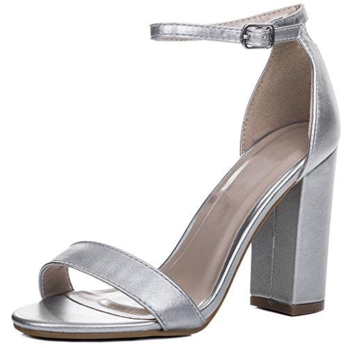 Peep-Toe Blockabsatz Sandalen Schuhe Pumps Synthetik Kunstleder Gr 37 Silber Heels