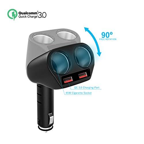 Rytaki KFZ Ladegerät 3.0 Schnelllader Autoladegerät Dual USB Autoladeadapter. 2 Zigarettenanzünder Splitter 12V/24V Mehrfunktionsnetzanschluss. Anschlusserweiterung für iPhone iPad Android GPS