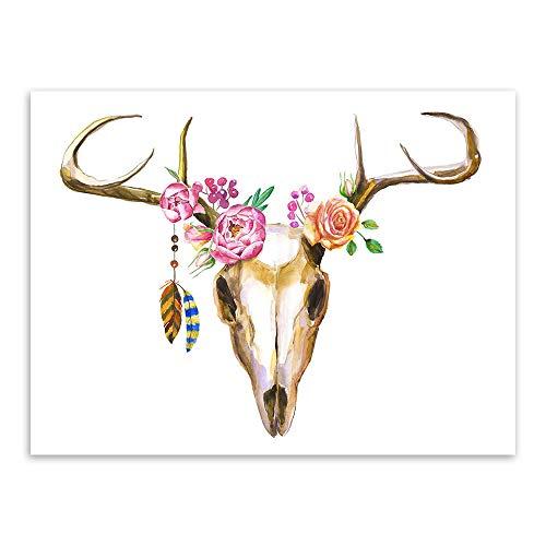 WSNDGWS Copricapo Animale Alce Dipinti Decorativi Moderni in Stoffa Senza Cornice D4 40x60cm