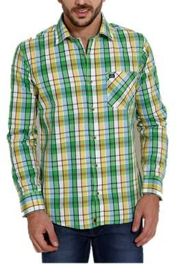 SIN DENIM Men's Slim Cotton Shirt (SF005MW28996GR1S)_Green_Small