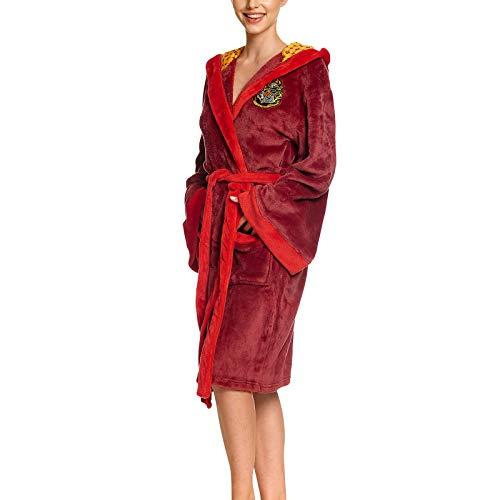 Elbenwald Harry Potter Bademantel mit Kapuze mit großem Gryffindor Wappen auf dem Rücken und aufgesetzten Taschen für Damen und Herren rot 110 cm