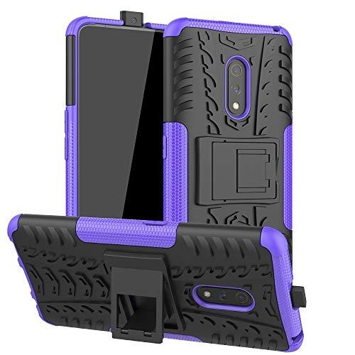 Hjg Cassa del Telefono per Il Caso Antiurto Oppo Realme X Tire Texture TPU + PC con Il Supporto (Blu) Pellicola Protettiva (Color : Purple)