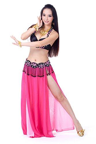 Dance Fairy Schöne charmante Tanzklage Kostüme Perlen verziert BH ein Bauchtanz waitst Kette u a sexy rote Rose hohen Schlitz Chiffonrock (Tanzen Belly Tänzerin Bh Dance)