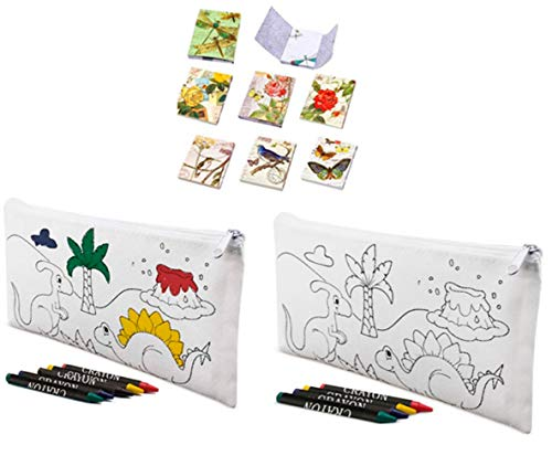 Lote de 30 Estuches para Colorear Infantiles Dinos con 4 Ceras Incluidas + 3 Libretas Bloc Notas Floral - Estuches con Pinturas para Pintar. Estuches Regalos para niños Comuniones