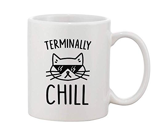 Finest Prints Terminally Chill Cool Cat with Sunglases White Ceramic Coffee and Tea Mug (Hipster-sunglases)