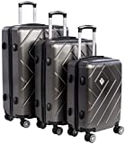 Kratzbeständiges 3-teiliges Kofferset, Super robust, elastisch und leicht, Original TSA-zugelassenes Schloss | Weich ummantelte Griffe, Hartschalen-Trolley-Set zum Reisen | Koffer mit vier 360°-Rollen