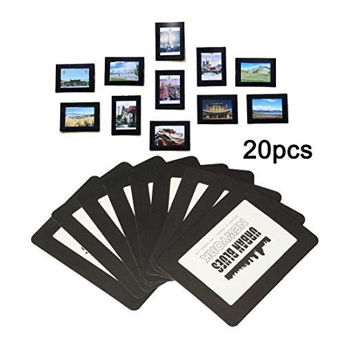 GresatekEU Magnetische Foto-Bilderrahmen und Kühlschrankmagnete, 20pcsTaschenrahmen für Kühlschrank, weiß, schwarz, hält 10x15, 9x13, 8x10, 6x9 cm (Magnet-rahmen Für Kühlschrank)