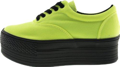 Maxstar C50 5 trous à plateforme basse Casual Baskets Chaussures bateau Vert - Vert flup