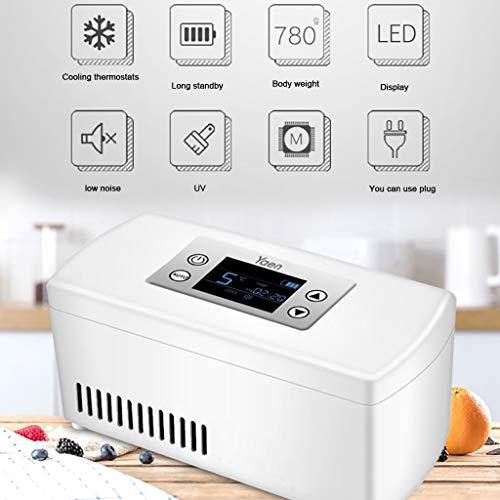 41mSapFGmsL - Drug Reefer, mini refrigerador, caja de insulina para diabetes, caja de insulina para automóvil, refrigerador para automóvil, refrigerador portátil pequeño para medicamentos (blanco) Edición estándar