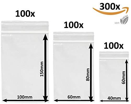 300 x Druckverschlußbeutel Set   Zip Verschlussbeutel   Zip Lock Bags   Gleitverschlussbeutel 50 mµ   Polybeutel   Hergestellt in Deutschland   Beutel Set mit 3 Grössen von Easy Pack